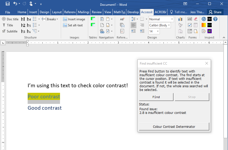 screenshot of DAT color contrast report showing insufficient contrast
