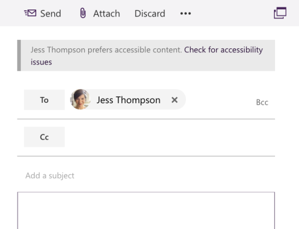 screenshot of draft email with notice that reads Jess Thompson prefers accessible content. Check for accessibility issues.