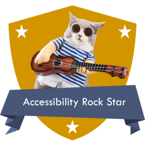 Accessibility Rock Star badge with a cat playing a guitar in the badge image.